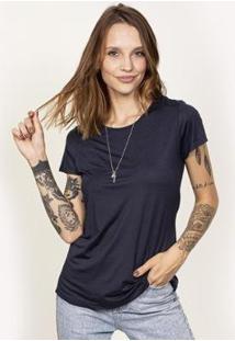Camiseta Cora Básico Decote Redondo Feminina - Feminino-Marinho