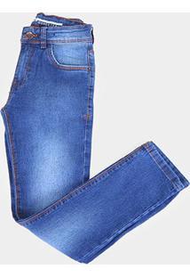 Calça Jeans Juvenil Gansgter Estonada Masculina - Masculino-Azul