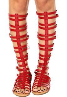 Sandália Piccadilly Gladiadora Alta Vermelha