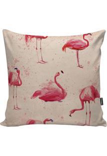 Capa Para Almofada Big Flamingo- Bege Claro & Pink- Stm Home