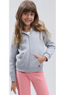 Blusão Infantil Básico Em Moletom Felpado Com Capuz Cinza Mescla