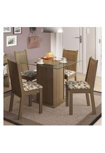 Conjunto Sala De Jantar Madesa Lucy Mesa Tampo De Vidro Com 4 Cadeiras Rustic/Bege Marrom
