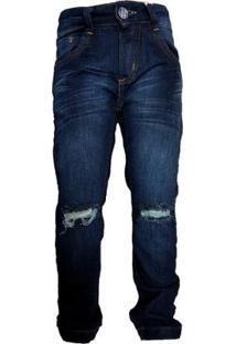 Calça Jeans Tradicional Menino Rasgadinho Balada Conforto - Masculino-Azul Escuro