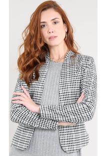 Blazer Feminino Estampado Xadrez Com Zíper Off White