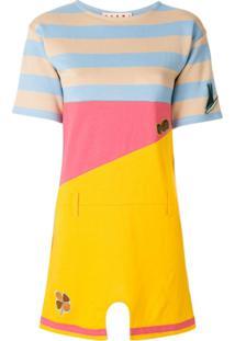 Marni Mini Vestido Colourblock Com Listras - Amarelo