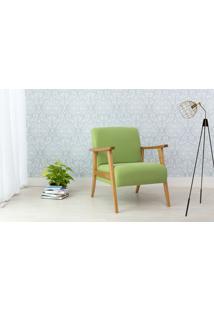Poltrona Decorativa De Madeira Estofada - Poltrona Para Recepção Cor Verde - Verniz Amendoa \ Tec.942 Acacia - 72X72X85 Cm