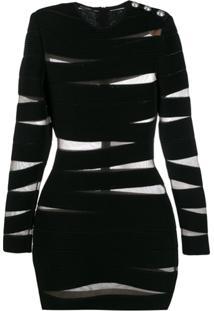 Balmain Vestido Listrado - Preto