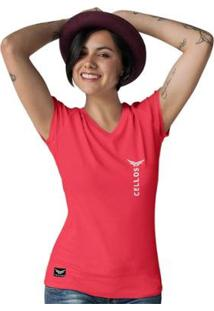 Camiseta Gola V Cellos Vertical Premium Feminina - Feminino-Vermelho