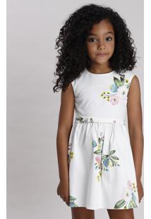 Vestido Infantil Estampado Floral Com Vazado E Laço Sem Manga Off White