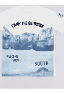 "Camiseta Infantil ""Enjoy The Outdoors"" Manga Curta Off White"