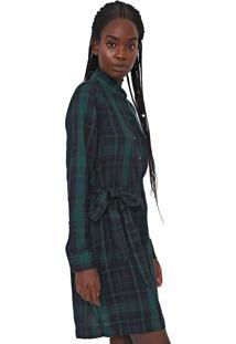 Vestido De Inverno Gap Curto Xadrez Com Faixa Azul-Marinho/Verde - Azul Marinho - Feminino - Algodã£O - Dafiti