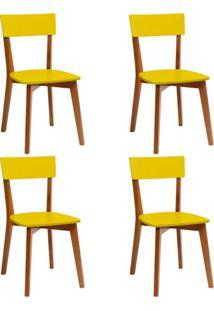 Conjunto Com 4 Cadeiras Tóquio Mel E Amarela