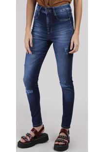 Calça Jeans Feminina Sawary Super Skinny Cintura Média Com Cinta Azul Escruro