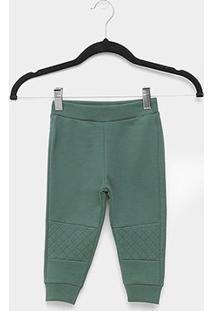 Calça Moletom Infantil Milon Peluciado Liso Básico - Masculino-Verde
