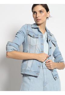 Casaco Jeans Com Bolsos - Azul Claroenna
