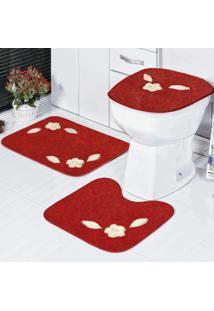 Jogo Banheiro Dourados Enxovais Standard Margarida Unica 3 Peças Vermelho