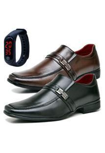 2 Pares Sapato Social Fashion Com Relógio Led Fine Dubuy 827El Preto