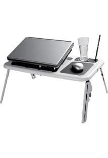 Mesa Para Notebook Retrátil Com Cooler Duplo E Base Com Porta Copos