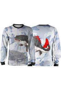 Camisa Pesca Quisty Majestoso Pirarara Camuflado Proteção Uv Dryfit Infantil Branco - Kanui