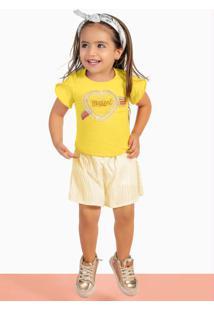 Conjunto Blusa E Short-Saia Amarelo