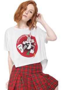 Camiseta Cropped Cavalera Estampada Branca