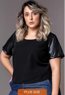 Blusa Cropped Black Plus Size Preto