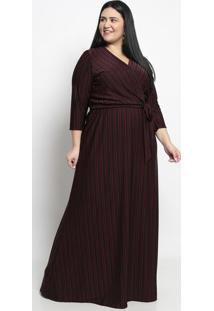 Vestido Longo Listrado- Preto & Vermelho Escuro- Piapianeta