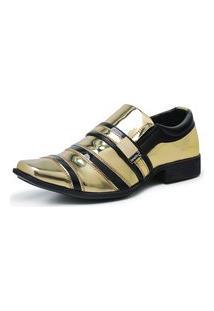 Sapato Social Masculino Envernizado Confortável Dourado/Preto