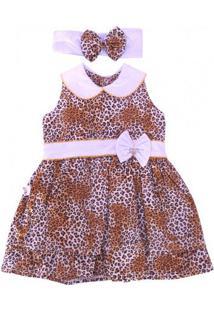 Vestido Infantil Oncinha Com Laço E Tiara