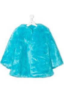 Msgm Kids Eco Fur Jacket - Azul