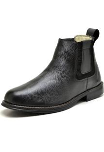 Bota Together Botina Elastico Lateral Couro Preto
