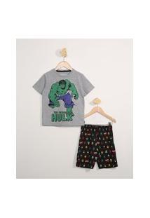 Pijama Infantil Manga Curta Hulk Cinza Mescla Escuro