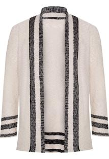 Cardigan Masculino Tricot Rustic Over - Bege