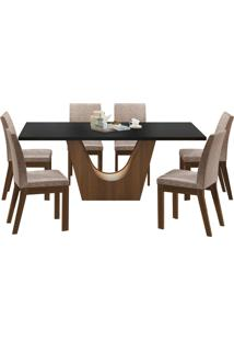 Sala De Jantar Madesa Olivia Mesa Tampo De Madeira Com 6 Cadeiras