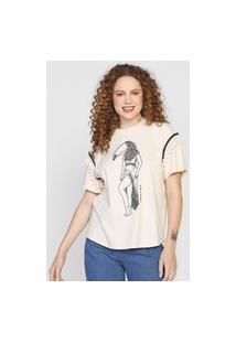 Camiseta Colcci Bordada Off-White