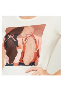 T-Shirt Feminina Basica Abraço De Amigas