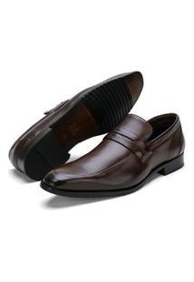 Sapato Social Fepo Store Couro Liso Almofadado Conforto Marrom