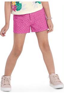 Shorts Rovitex Kids Feminino Rosa