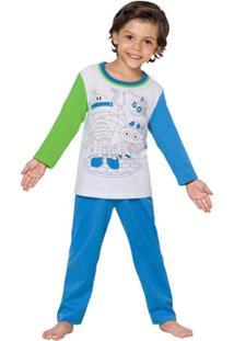 Pijama Longo Infantil Inspirate Para Colorir - Masculino-Azul+Branco