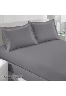 Lençol Com Elástico King Size- Cinza- 40X193X203Cm