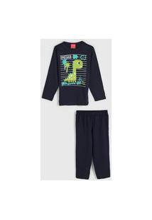 Pijama Tricae Longo Infantil Dinossauro Azul-Marinho