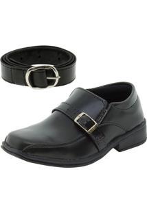 Sapato Infantil Masculino Preto/Fivela Passobelle - 5011