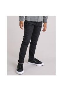 Calça Jeans Infantil Slim Em Algodão + Sustentável Preta