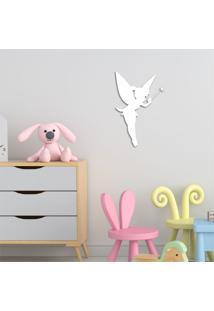 Escultura De Parede Em Mdf Fada Infantil Branco - Médio