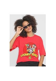 Camiseta My Favorite Thing(S) Alongada Looney Tunes Vermelha
