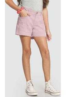 Shorts Sarja Com Elastano Rosa