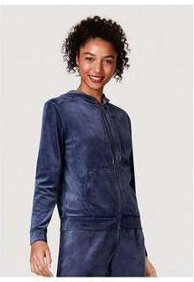 Jaqueta Feminina Básica Em Plush Com Capuz E Bolso Frontal Azul