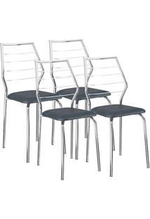 Cadeira 1716 04 Unidades Jeans/Cromada Carraro