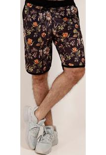 Bermuda Estampa Floral Local Masculina Preto