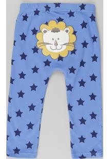 """Calça Estampada """"Leão"""" Em Algodão + Sustentável Azul"""